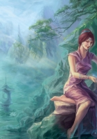 river, stone, girl