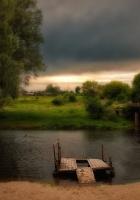 river, sun, grass