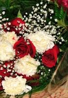 roses, gypsophila, carnations