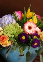roses, hydrangea, tulips