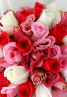 roses, lisianthus russell, bouquet