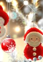 santa claus, snowman, balls