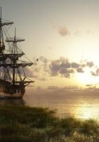 ship, bank, grass