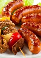 shish kebab, sausages, fried