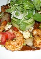 shrimps, sauce, greens