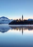 slovenia, fog, lake