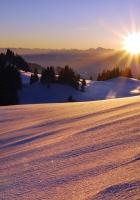 snow, mountains, light