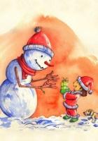 snowman, baby, gift