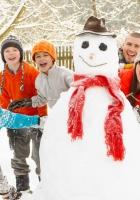 snowman, children, snow
