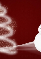 snowman, christmas tree, snow