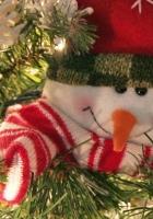 snowman, smiling, tree