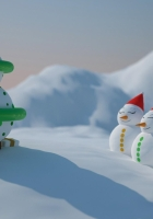 snowmen, number, christmas tree