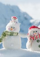snowmen, three, smile