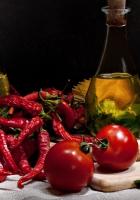 spaghetti, pepper, tomatoes
