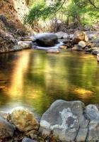 stones, lake, reflection