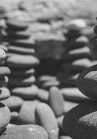 stones, sea, black and white