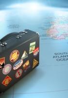 suitcase, maps, globes