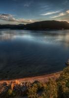 sun, lake, coast