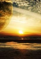 sunset, sea, rings