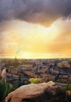 sunset, sky, city