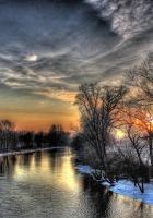 sunset, winter, river