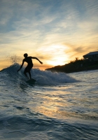 surfing, waves, evening