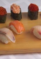 sushi, fish, rice