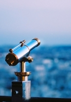 telescope, city, evening