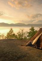 tent, coast, lake