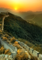 the great wall of china, grass, top view