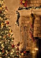 tree, fire, christmas