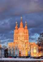 trees, st petersburg, smolny cathedral