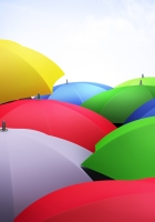 umbrellas, 3d, sky
