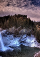 waterfall, rocks, sky
