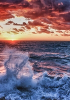 wave, sea, splashes