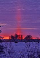 winter, sunset, field