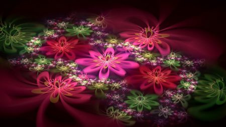 abstraction, fractal, flowers