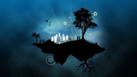 abstraction, island, sky