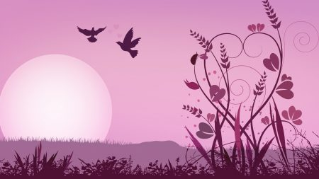 abstraction, pink, bird