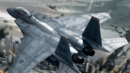 ace combat, fighter, city