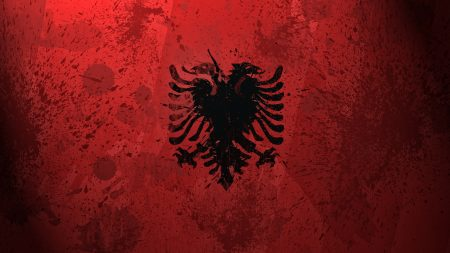 albania, flag, coat of arms