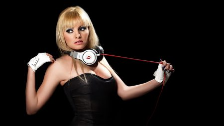 alexandra stan, girl, headphones