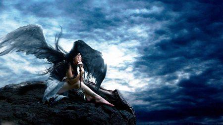 angel, sky, rocks