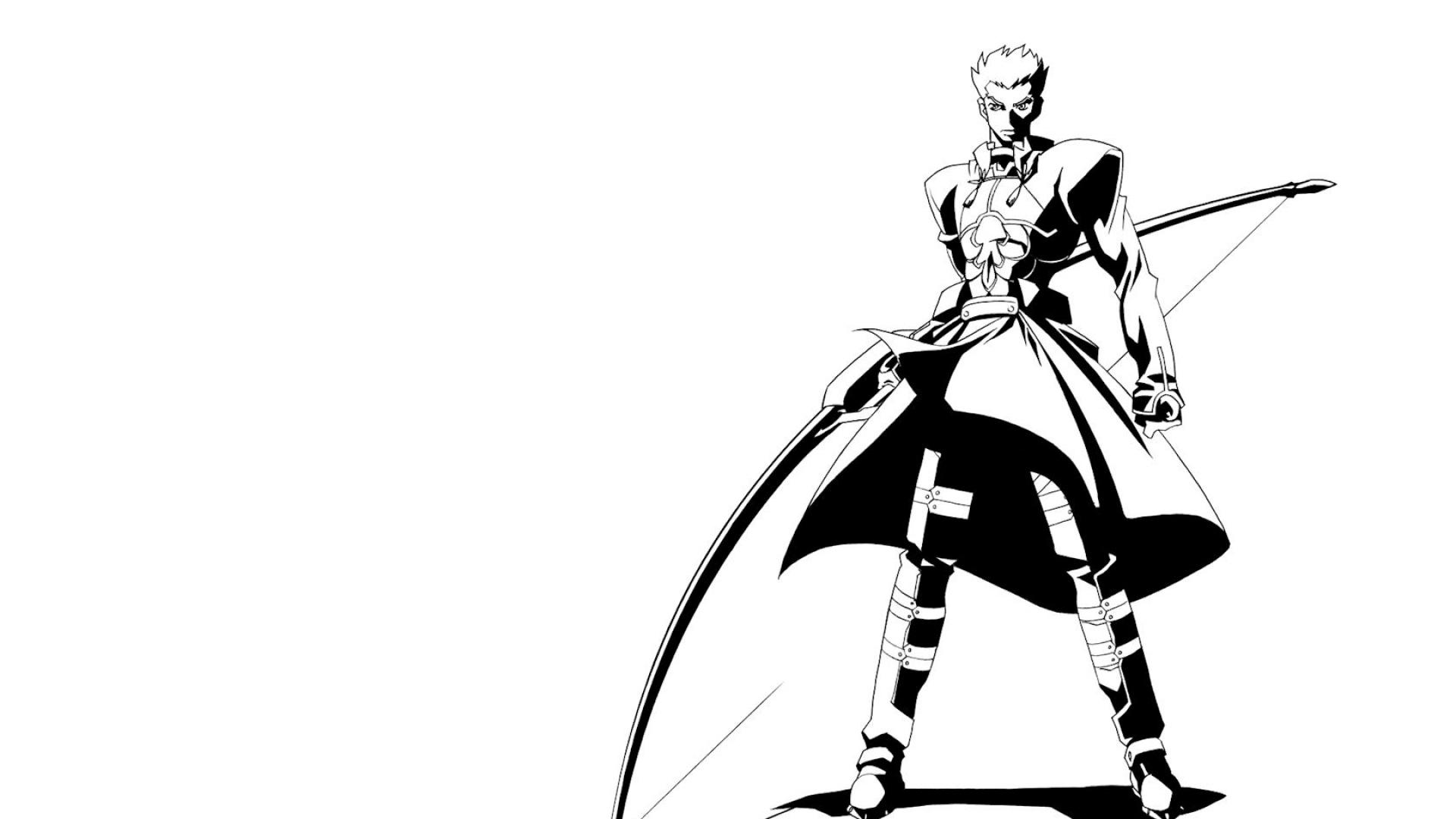 anime, boy, black and white