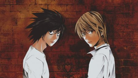 anime, boys, wall