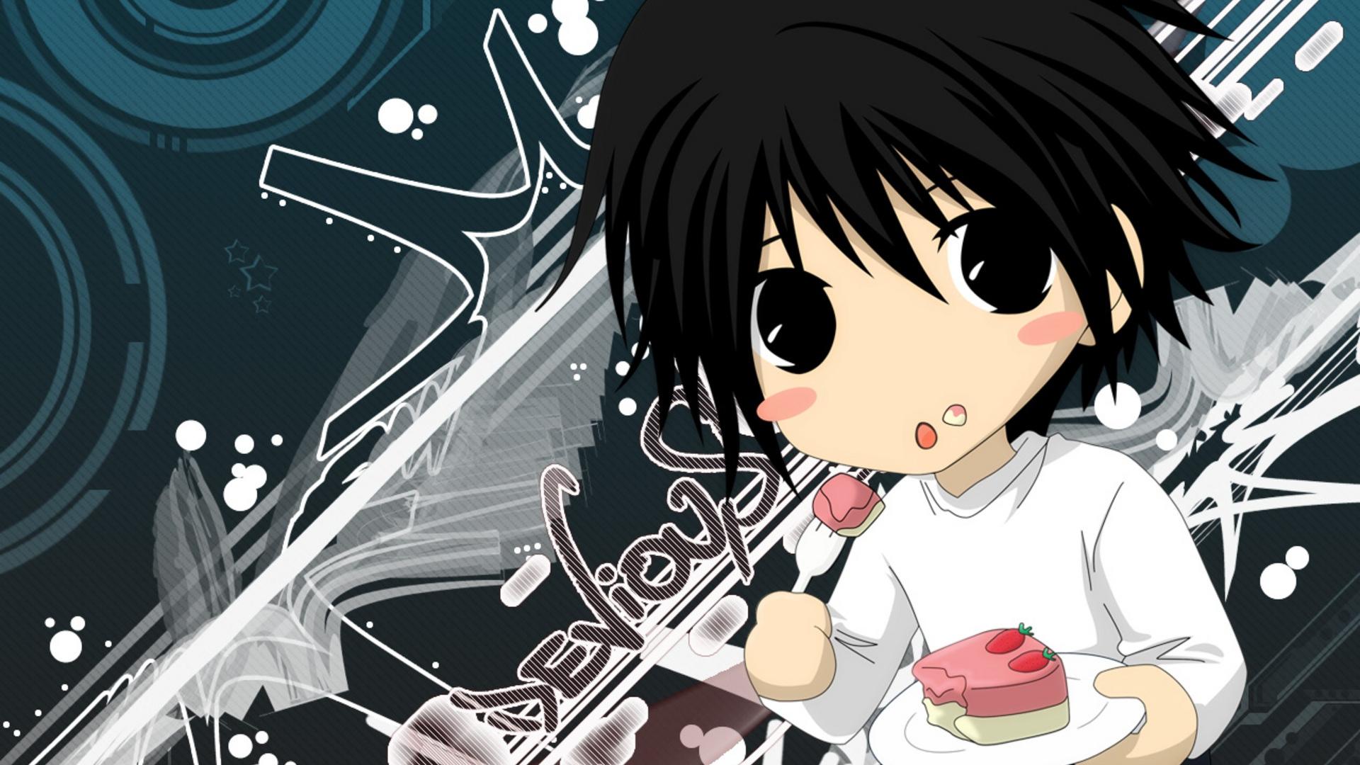anime, cake, fork