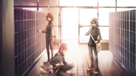 anime, corridor, school
