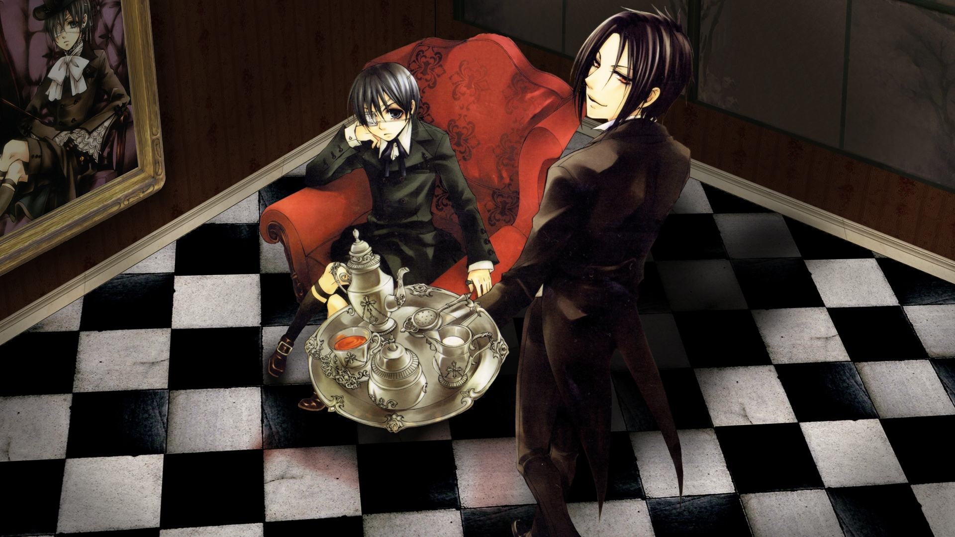 Download Wallpaper 1920x1080 Anime Couple Chair Table Tableware Gothic Flooring Painting Full Hd 1080p Hd Background