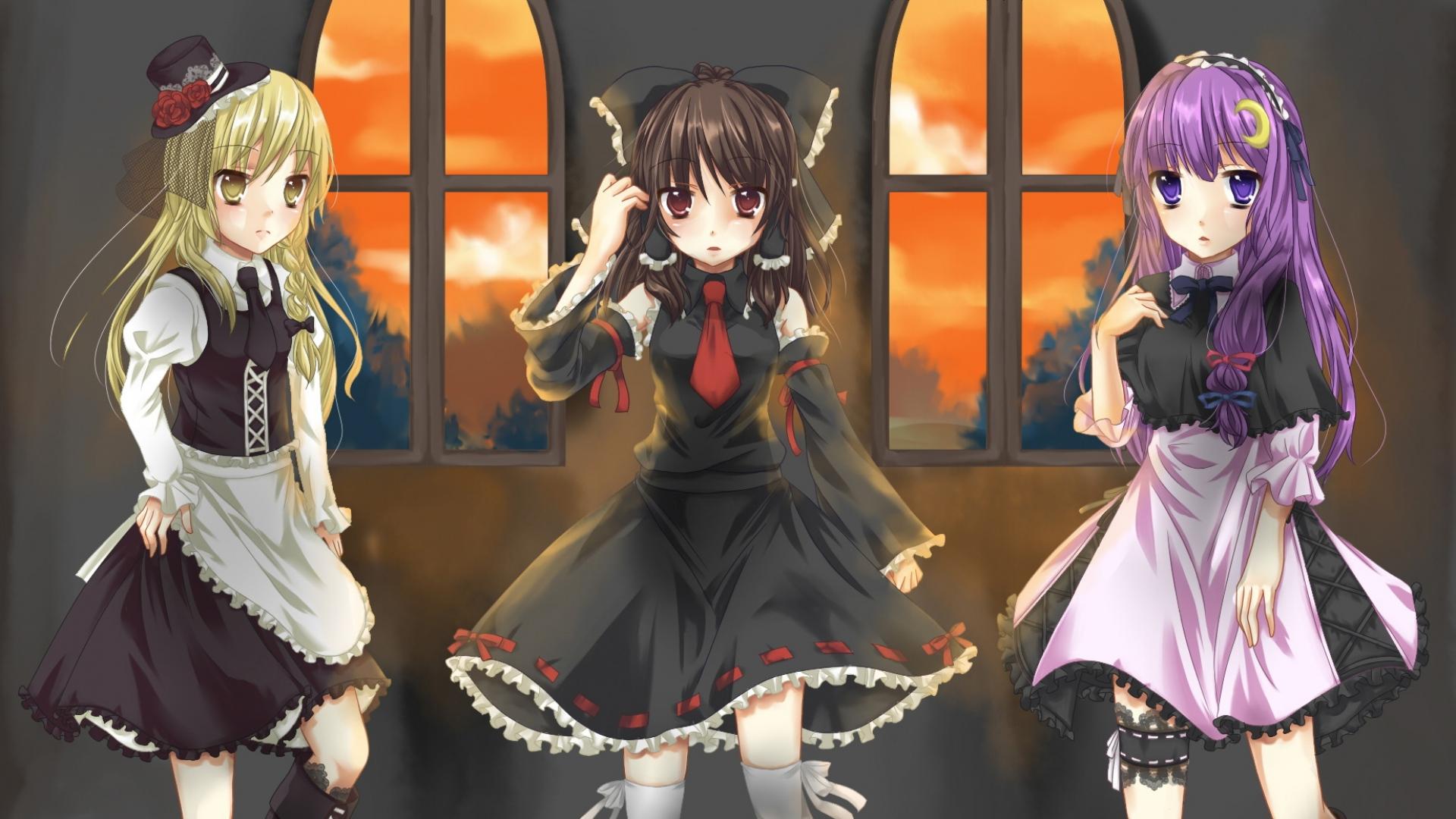 anime, crowd, girls