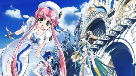 anime girl, building, castle
